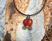 Rustic Red Heart Necklace