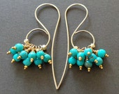 Turquoise Cluster Earrings 14kgf Gemstone December Birthstone Earrings Statement Earrings