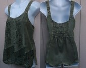 Vintage 90s Olive Green India Embroidered Sleeveless Tunic Top / Sz Med
