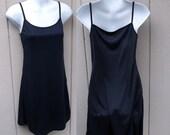Vintage 90s Black Stretch Jersey Mini Dress Slip / Size Sml -  Med