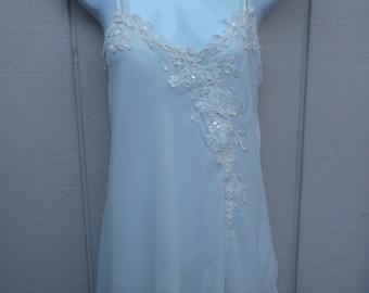 Vintage White Sheer Babydoll Chemise Nightgown / Dentelle skimpy wedding night nightie // Size Lge