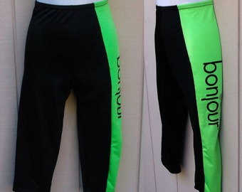 80s Black w/ Color Block Neon Green Shiny Spandex Crop Legging Pants by Bonjour / Size xs - S