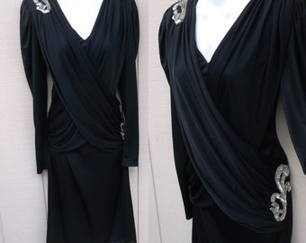 70s Vintage Black Drape Jersey Disco Dress by Oved / Wrap Bodice with Sequins - Party Dress // Sz Sml - Med