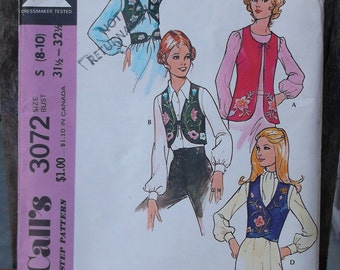 Vintage 70s 1971 Vest & Belt Sewing Pattern with Embroidery Transfer / McCall's 3072 Boho Hippie Gypsy Folk Peasant Vests and tie belt / Sml
