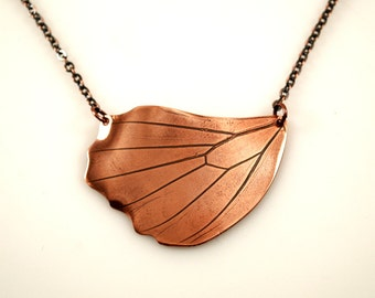 Butterfly Wing Necklace, Copper One of a kind nature jewelry
