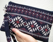 WEDDING CLUTCH, gift pouch, 2 pockets, bridesmaids, wedding, handmade, iPhone - tribal navy