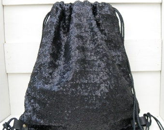 Black sequins drawstring backpack,gym grocery cycling hiking rucksack excursions weekend unique unisex