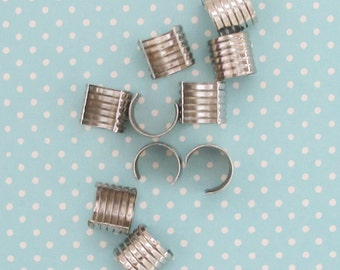 Strap Clips - 10 Metal Crimps for Bag Straps or Leather Jewelry