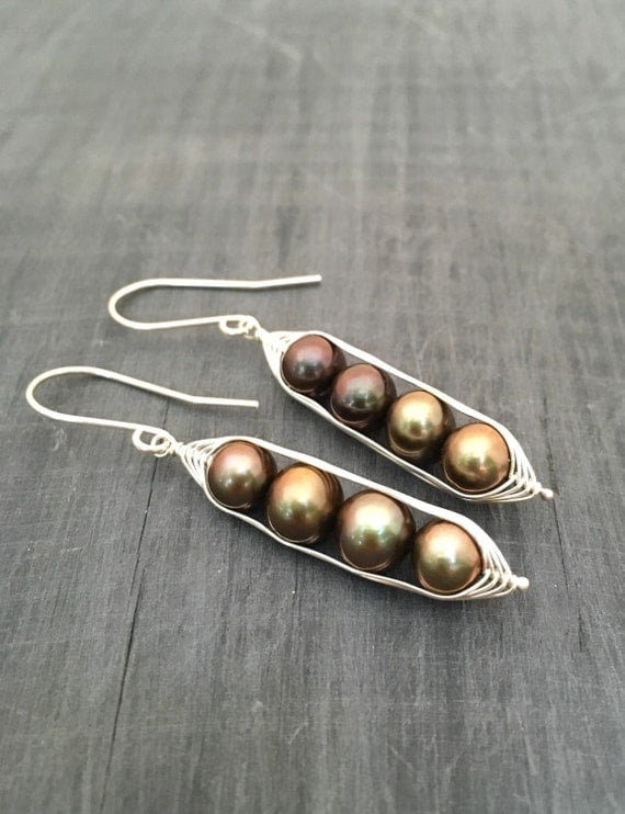 Pea pod earrings. Four peas in a pod with bronze forest green fresh water pearls. Mothers day gift. Pea pod jewelry, gift for mom