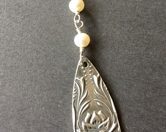 Blooms the Lotus, White Freshwater Pearls, Fine Silver, Sterling Silver Necklace, erinelizabeth
