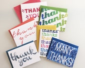 Boxed Thank You Cards - Watercolor Thank You Notecards - set of six cards with envelopes