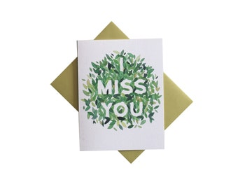 I Miss You Card - watercolor leaves thinking of you card - miss you nature card