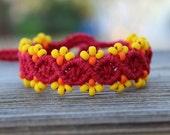 REDUCED Micro-Macrame Beaded Hemp Bracelet - Red, Yellow and Orange
