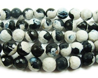 Black & White Fire Agate Faceted Gemstone Beads