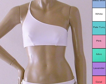 One Shoulder Bikini Top in White, Pink, Baby Blue, Pale Turquoise, Lavender, Mint, Coral