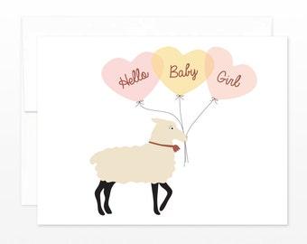 Cute New Baby Girl Card, Balloon Lamb Greeting Card, Baby Shower, New Parents Card, Birth Announcement Card, Baby Girl Card, Pink Baby Card