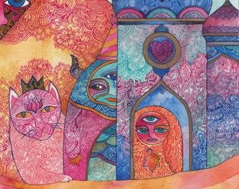 The Queen of Cat City Original Watercolor by Megan Noel