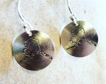 Stamped Sterling Alaska  Earrings