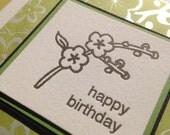Letterpress flower birthday card- green