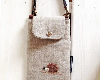 Smartphone case - linen with a hedgehog applique (made to order)