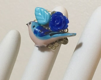 Blue Bird Ring, Blue Flower Ring, Blue Leaf Ring, Bohemian Collage Ring, Woodland Ring, Cocktail Ring, Flower Statement Ring, KreatedByKelly