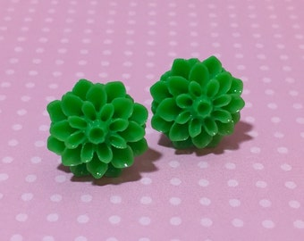 Green Mum Studs, Green Flower Studs, Christmas Green Chrysanthemum Flower Earrings, Surgical Steel Stud, Chunky Flower Stud, Bridesmaid Gift