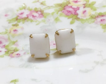 Milk Glass Earrings, Rhinestone Wedding Earrings, Rhinestone Stud Earrings, White Rhinestone Earrings, Vintage Earrings, KreatedByKelly