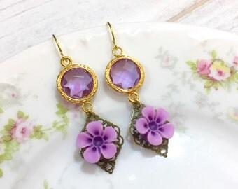 Purple Flower Earrings, February Birthstone Earrings, Vintage Style Jewel Earrings, Purple Daisy Earrings, Estate Style Jewelry