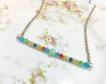 Beaded Bar Necklace, Colorful Bar Necklace, Layering Necklace, Minimalist Necklace, Bohemian Necklace, Handmade by KreatedbyKelly