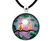 Three Siamese Cats In Moonlight Handmade Necklace Asian Zen Cat Pendant Tree Branches Purple Moon Boho Bohemian Lavender Teal Art