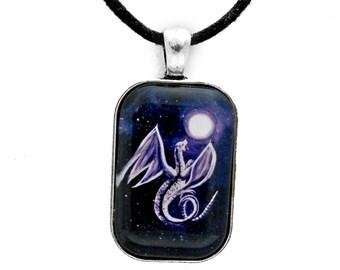 White Dragon Men's Necklace Full Moon Blue Indigo Night Stars Fantasy Jewelry for Men Handmade Dragon Pendant Unisex Gift for Him