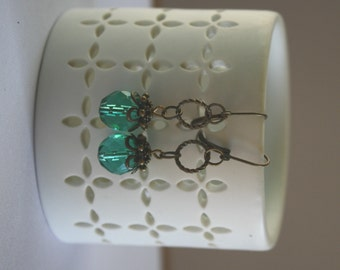 Faceted Aqua Glass Bead and Antiqued Brass Drop earrings