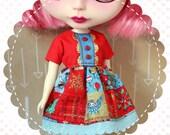Holly Jolly Christmas / One-of-a-Kind Doll Dress for Blythe