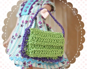 SALE Vintage Dolly Size Crocheted Purse Handbag for Blythe or Similar Doll / Green and Purple