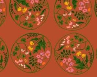 Heather Ross Orange Tiger Lily Wreaths cotton quilt fabric - fat quarter