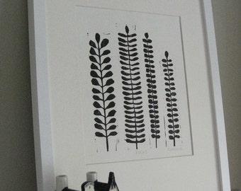 """FERNS LINOCUT PRINT - Black & White Fern Print - Modern Botanical Print 8""""x10"""" - Ready to Ship"""