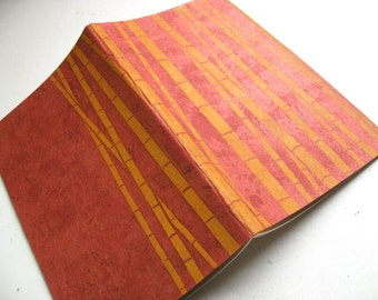 GRAPH PAPER MOLESKINE - Bamboo Design - Hand Printed Japanese Paper Cover - 5x8 Notebook