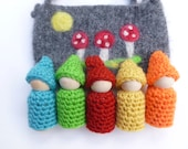 Gnomes in a pouch set wood peg dolls felted pouch