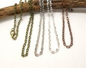 10 pcs 30 inch chain necklace with clasp, vintage style chain, antiqued silver, antiqued copper and antiqued brass necklace