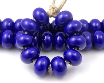 246 Dark Cobalt Blue Blue Spacers - Handmade Lampwork Glass Beads 5mm - SRA (Set of 10 Spacer Beads)