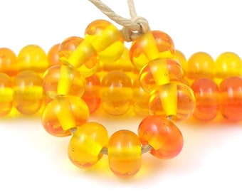 Juicy Transparent Orange Spacers - Handmade Artisan Lampwork Glass Beads 5mmx9mm - SRA (Set of 10 Spacer Beads)