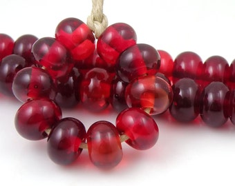 Bordello Spacers - Handmade Lampwork Glass Beads - Transparent, Reds - 5mm SRA (Set of 10 Spacer Beads)