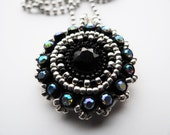 Silver and Black Beaded Necklace Pendant