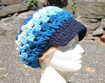 Retro Granny Square Crochet Hat with Brim - Slouch Hat - Blue Women's Hat, Newsboy Hat for Women, Boho Hat - Fall Accessories
