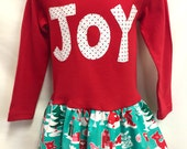 NEW! Girls Red Joy Christmas Dress -with leg warmers- Girls Christmas Outfit- Toddler Christmas Outfit