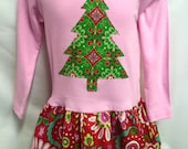 NEW! Girls pink Christmas Dress -Applique Holiday Outfi...