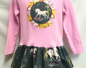 Girls Long Sleeve Unicorn Applique Dress - Light Pink and Grey Tunic Top - Unicorn Toddler Outfit
