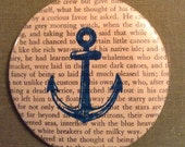 Moby Dick Recycled Book Anchor Pocket Mirror