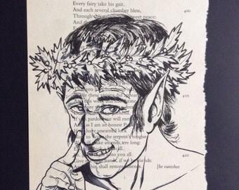 Puck Illustration - A Midsummer's Night Dream, Shakespeare, Original Art