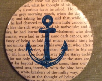 Moby Dick Recycled Book Anchor Pocket Mirror / Anchor Mirror / Reader Gift / Book Lover Gift / Moby Dick / Book Mirror / Bookish